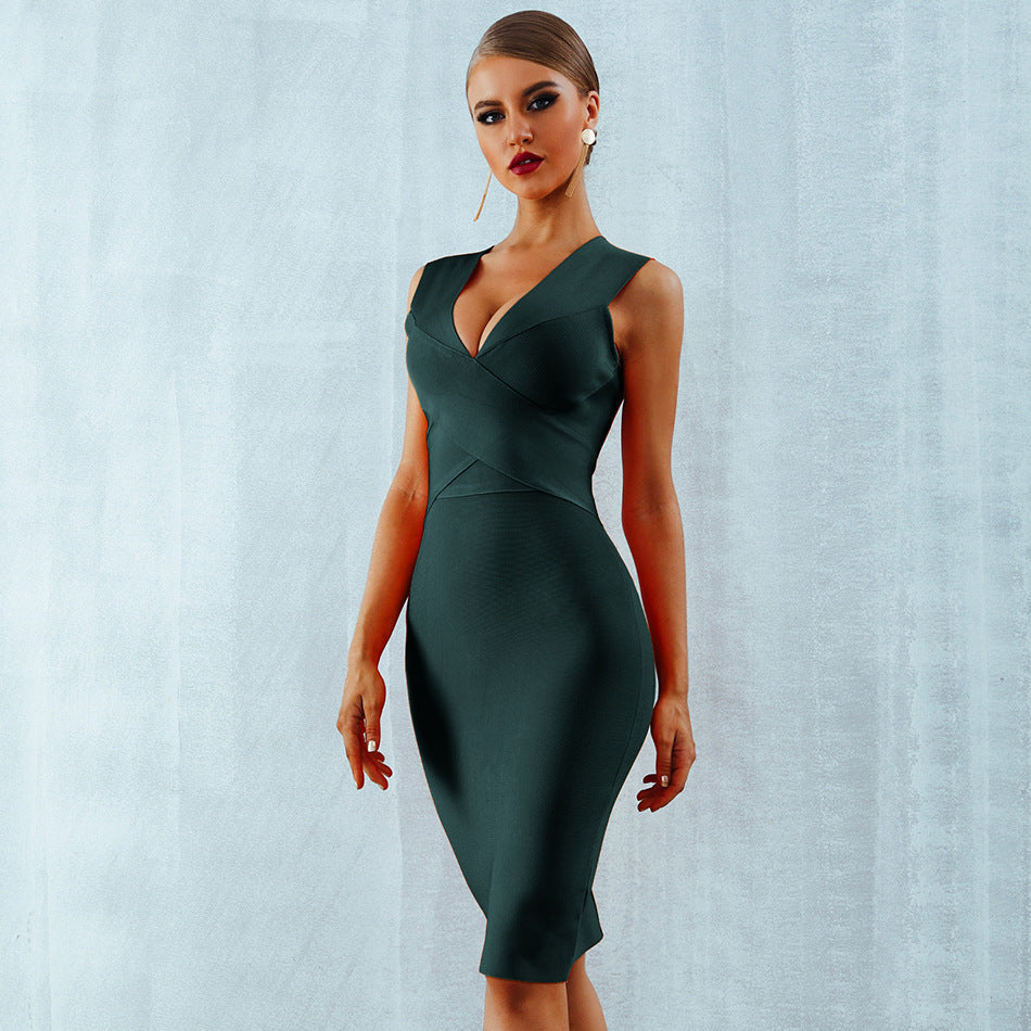 Buy Cheap Bandage Dress V-neck Sleeveless Party Dress Online - SunLify