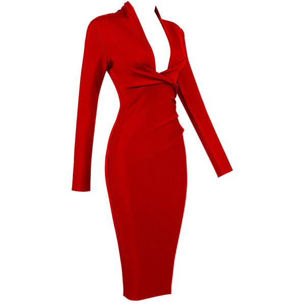 Buy Cheap Solid Color Dress Long Sleeve Large V-neck Bandage Dress Online - SunLify
