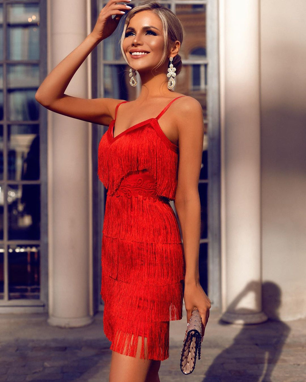 Buy Cheap Strap Tassel Stitching Dress Halter Evening Dress Online - SunLify