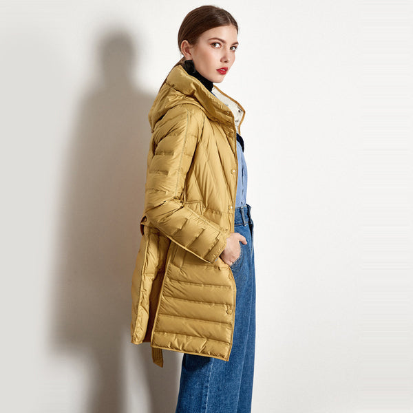 Buy Cheap Lace-up Hooded Down Jacket White Duck Down Coat Female Winter Coat Online - SunLify