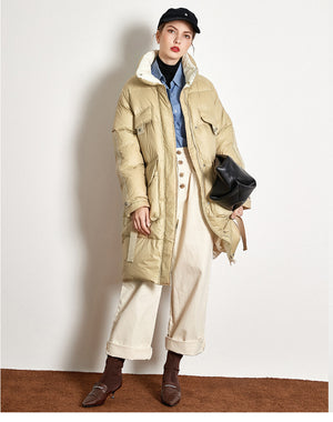 Buy Cheap Down Jacket Thick Long White Duck Down Jacket Online - SunLify