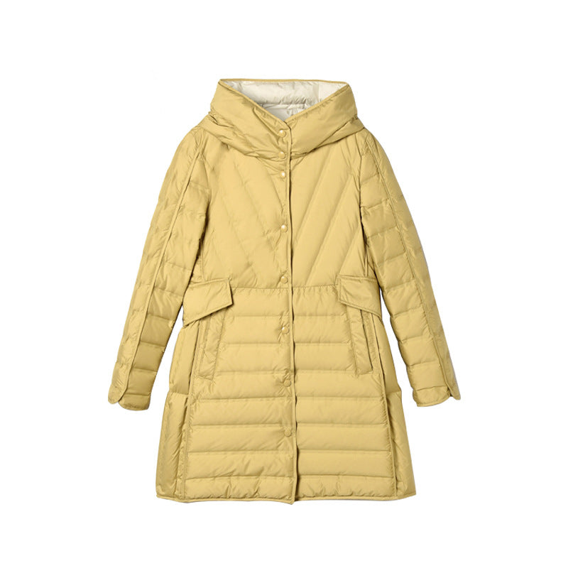 Lace-up Hooded Down Jacket White Duck Down Coat Female Winter Coat - SunLify
