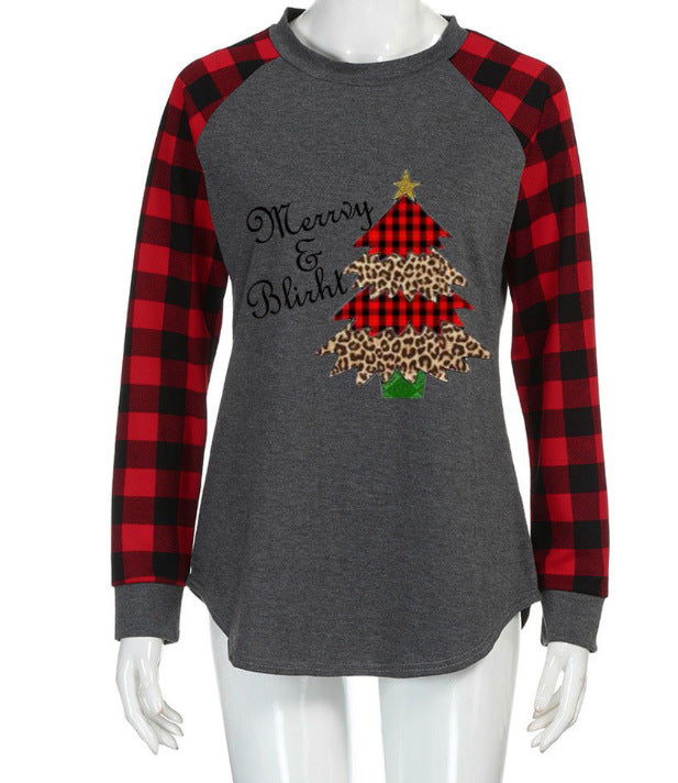 Buy Cheap Round Neck Plaid Christmas Ladies T-Shirt Online - SunLify