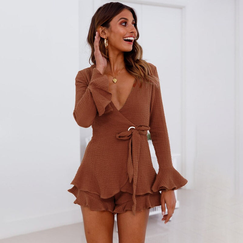 Buy Cheap Women's explosion suit set trumpet sleeve cardigan shorts Online - SunLify