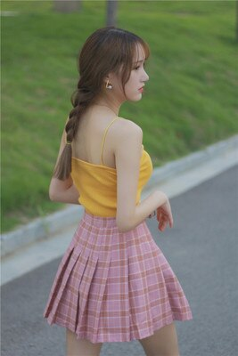 Buy Cheap New Japanese lattice skirt high waist pleated was thin A-Line skirt Online - SunLify