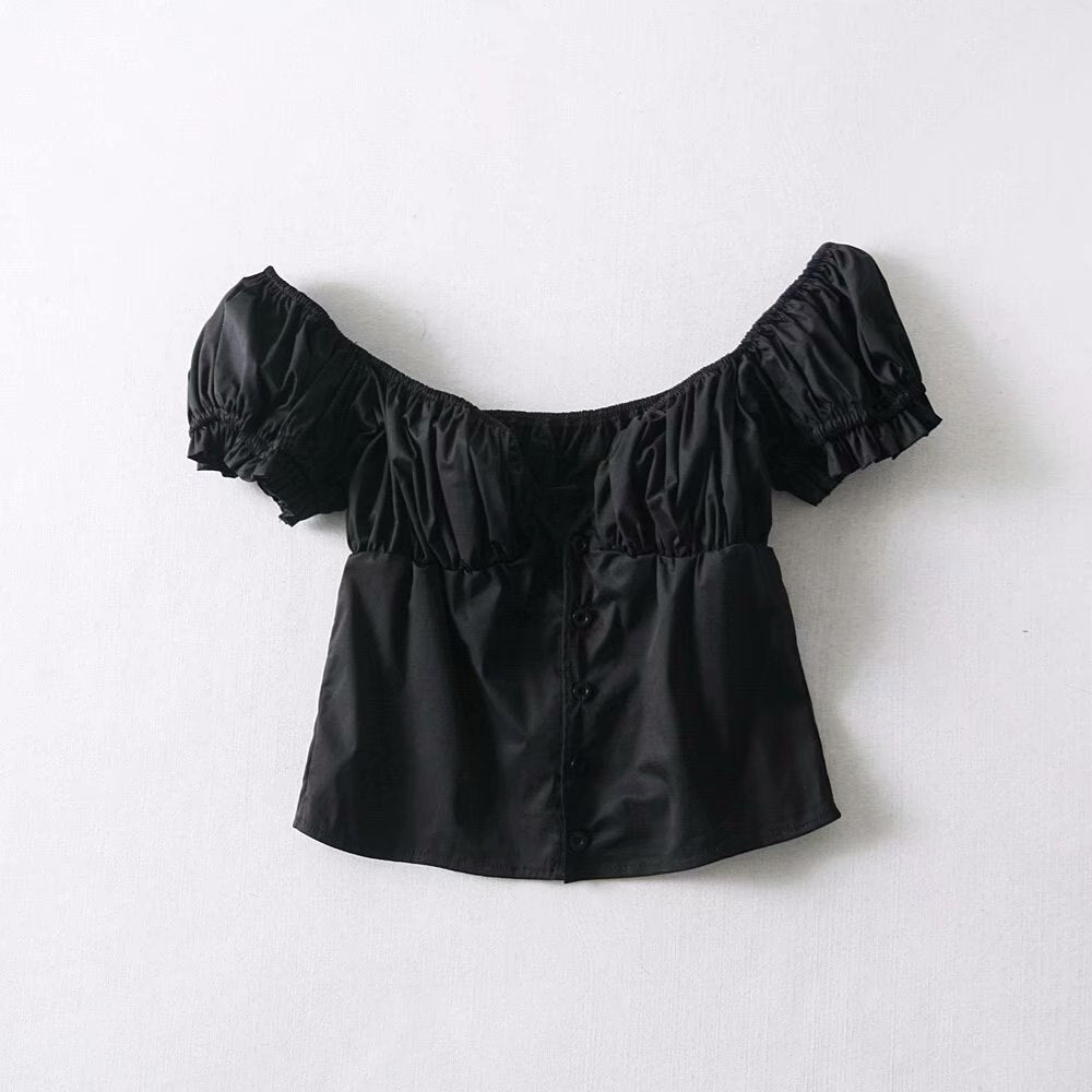 Buy Cheap Fashion Women Button Blouse V-Neck Short Sleeve Puff Sleeve Summer Top Online - SunLify