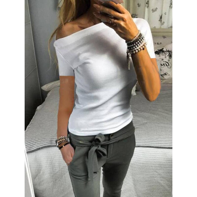 New Solid Color Strapless short-Sleeve T-shirt Female Skew Collar - SunLify