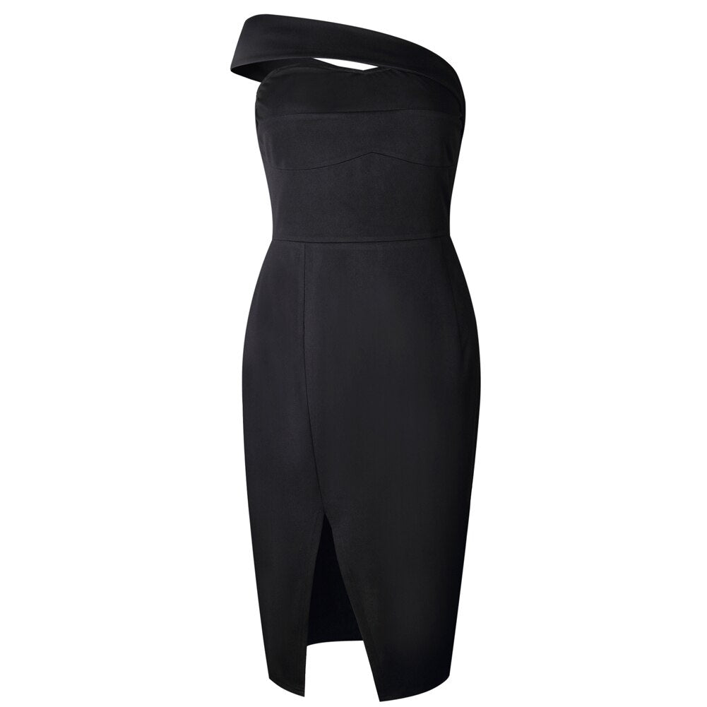 Buy Cheap Women Bodycon Dress One Shoulder Lady Slash Sleeveless Knee Dresses Online - SunLify