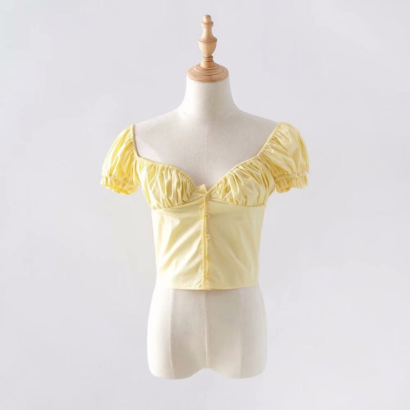 Women Frill Trim Vintage Blouse Summer Casual Short Sleeve Top - SunLify