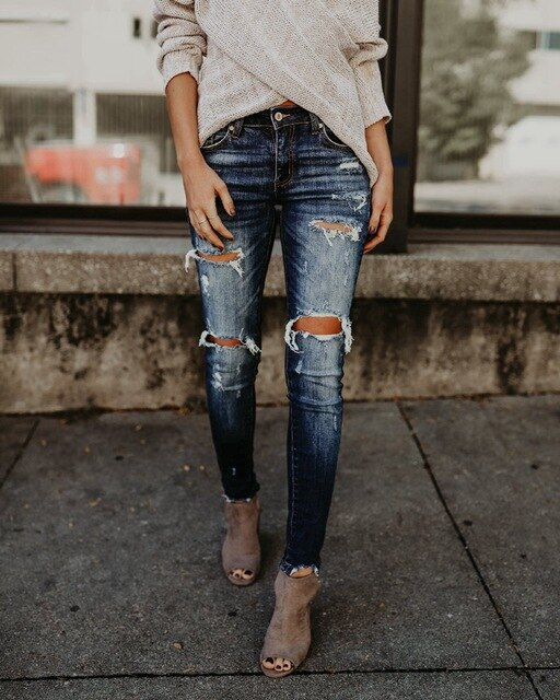 Buy Cheap Fashion Bleached Tassel Ripped distressed jeans Women Cotton Denim Slim elastic Pants Vintage Pencil Skinny trousers jeans Online - SunLify