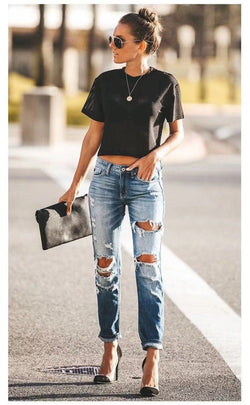 Buy Cheap Spring Fashion Hole Ripped Jeans Women Destroyed Cool Denim Mid Waist Skinny Jeans Pants Summer Slim Pencil Jeans Trousers Online - SunLify