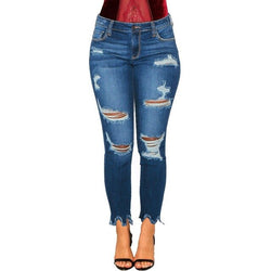 Buy Cheap fashion Sexy Casual Ripped Jeans Women Denim Pencil Pants Trousers Mid Waist Stretch Skinny Jean Boyfriend Style Streetwear Online - SunLify