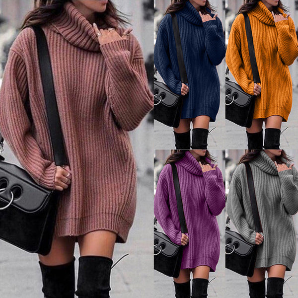 Plus Size Autumn Winter High Collar Lady Loose Long section Sweater - SunLify