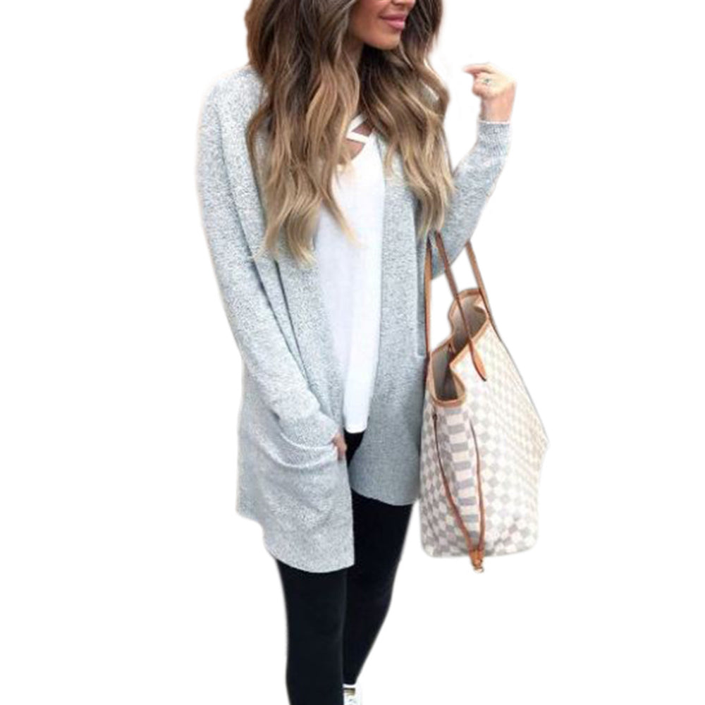 Buy Cheap Fashion Open Stitch Knitted Sweater Long Sleeve Pocket Cardigan Online - SunLify