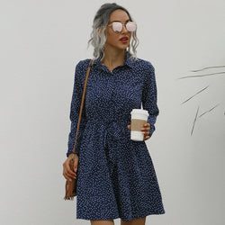 Button Up Shirt Dress Autumn Spring Casual Dot Print A-Line Dresses Elegant Floral Slim Sashes Fall  Womens Clothing Fashion - SunLify