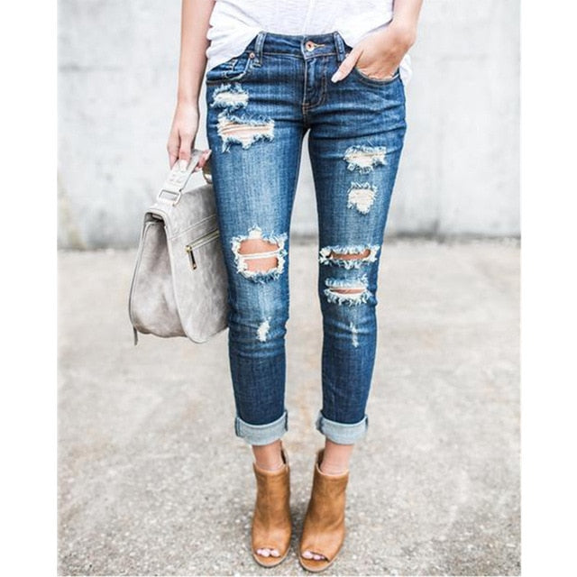 Casual Long Jeans Women High Waist Skinny Pencil Blue Denim Pants ladies Ripped Hole Vintage Slim Fit Skinny mom jean boyfriend - SunLify