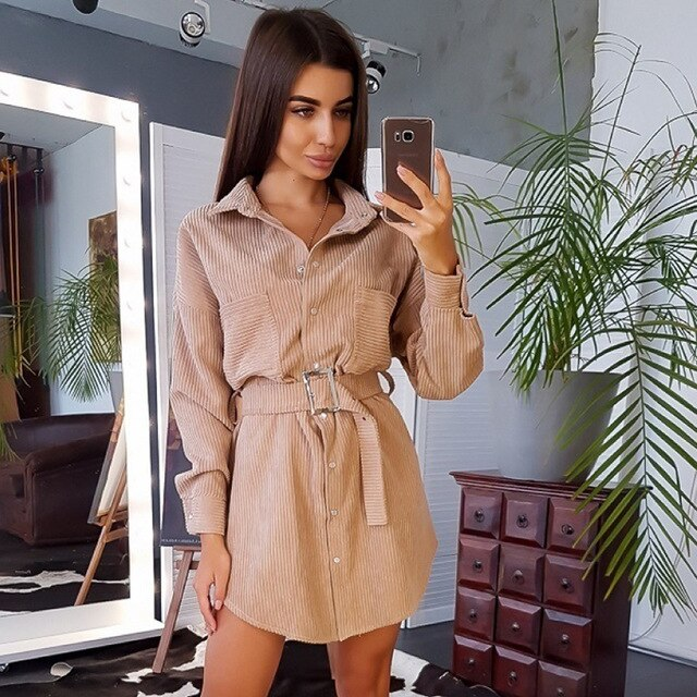Buy Cheap Dress Women Autumn Winter Corduroy Casual Pink Long Sleeve Sashes Fitted Womens Clothing Button Shirt Dresses  Fall Fashion Online - SunLify