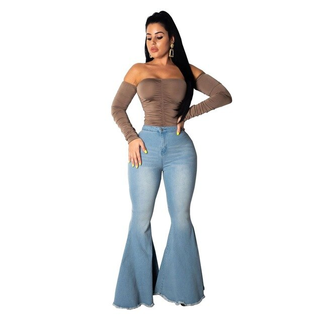 Buy Cheap Elastic High Waist Flare Jeans Women Casual Autumn Wide Leg Jeans Female skinny jeans Denim Long  jeans pants bell bottom jeans Online - SunLify