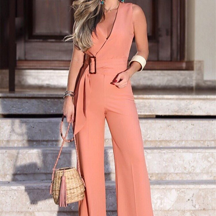 Buy Cheap V-neck Wide Leg Jumpsuits Women 2019 Summer Sleeveless Rompers Online - SunLify