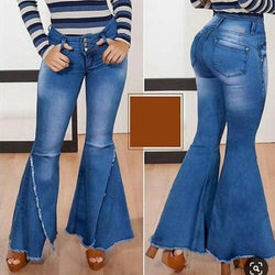 Buy Cheap Fashion  High Waist Denim Flare Pants Women vintage Ripped Jeans Wide Leg Trousers Ladies Casual Bell-Bottoms Flare Jeans Online - SunLify