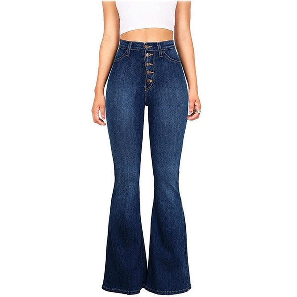 Buy Cheap Fashion skinny jeans pants Women High Waist button Flared denim jeans ladies bell bottom jeans Casual wide leg jeans streetwear Online - SunLify