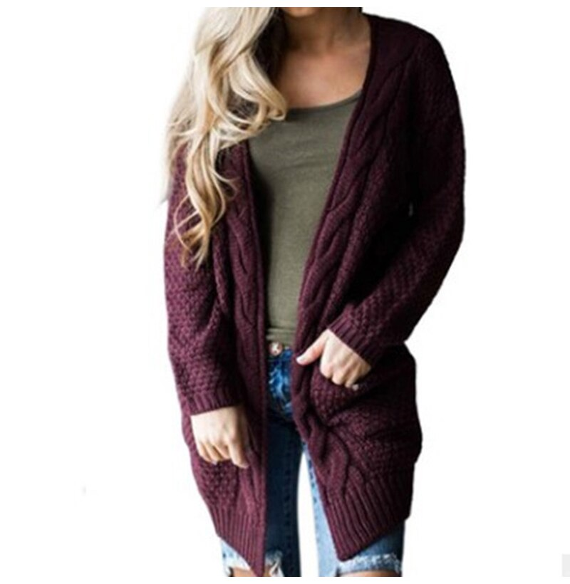 Buy Cheap Long Sweater Cardigan Women Autumn Winter Long Sleeve Pink Knitted Clothing Pocket Ladies Oversized Plus Size Fashion Tops Online - SunLify