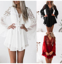 Chiffon Dress Lace Hollow Out Women Bandage Mini Short Dresses Party White Black Fitted Clothing Summer  Outfits For Women - SunLify
