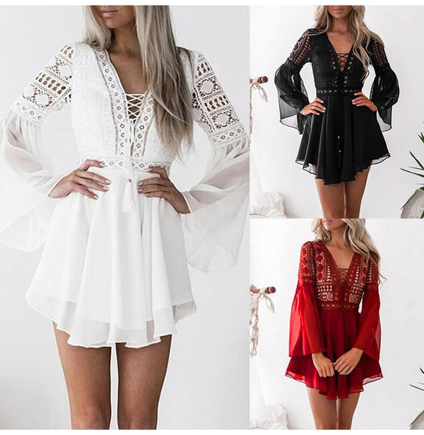 Buy Cheap Chiffon Dress Lace Hollow Out Women Bandage Mini Short Dresses Party White Black Fitted Clothing Summer  Outfits For Women Online - SunLify