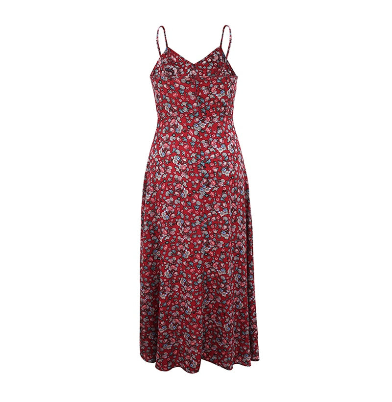Buy Cheap Long Dress Summer Vintage Flower Floral Backless Slip Sundress Women Casual Fitted Midi Clothes Red  Spaghetti Strap Dresses Online - SunLify
