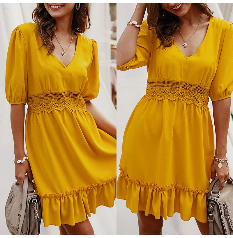 Summer Dress Casual Women Yellow Hollow Ruffle Ladies Pink Fitted Mini Short Sundresses High Waist  Summer Clothes For Women - SunLify