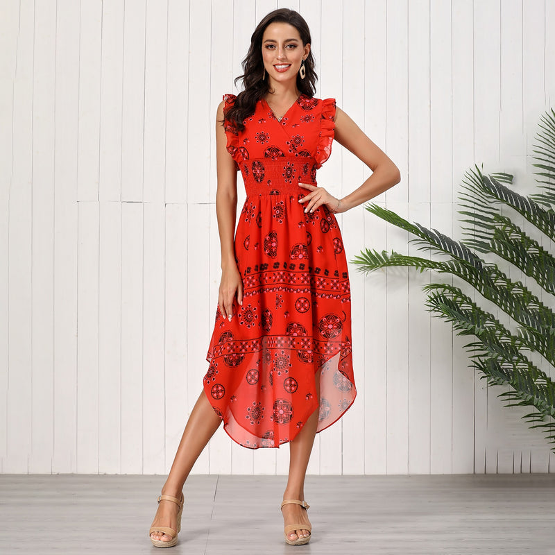 Lossky Summer Women Vintage Printed Red Chiffon Long Dress Fashion Ruffles New  Elegant Dresses For Women Clothes Bohemian - SunLify