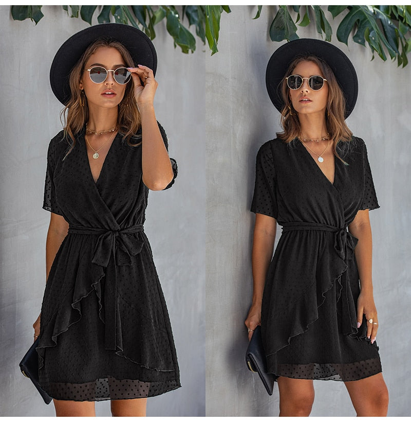 Women Dress Casual Ruffle Bow Lacing-Up Black Summer Sundresses Fitted Everyday Mini Short Clothing High Waist Red  Yellow - SunLify