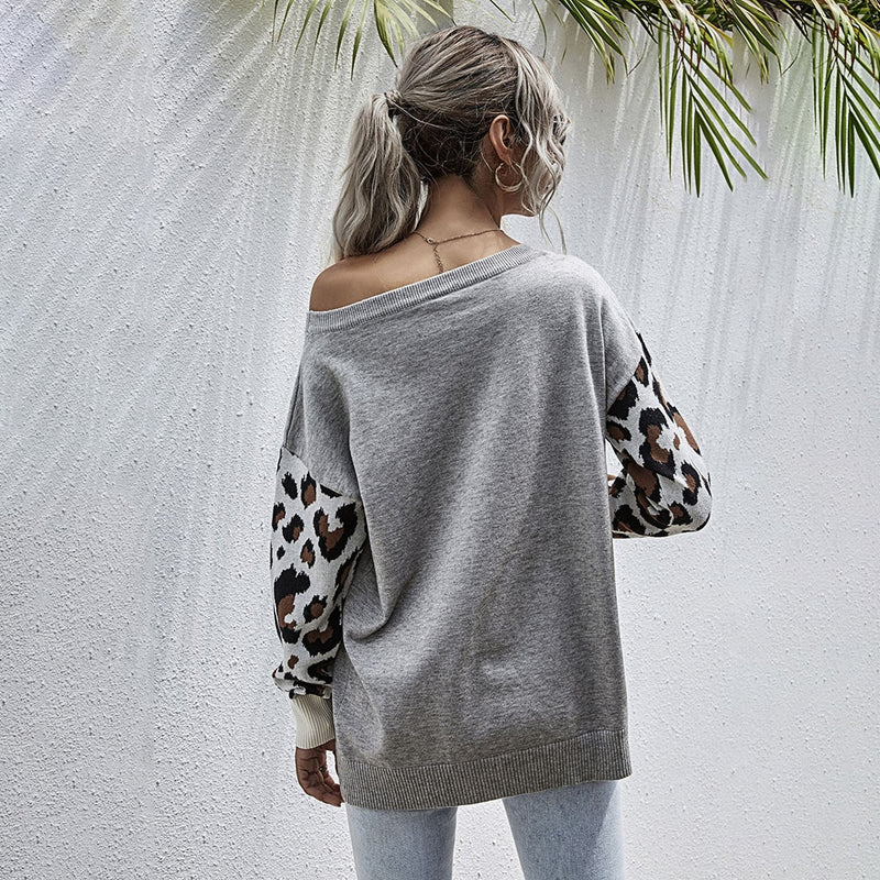 Buy Cheap Sweater Autumn Winter Patchwork Leopard Long Sleeve Knit Womans Clothes Loose Pullover Sweaters For Women  Fall Fashion Tops Online - SunLify