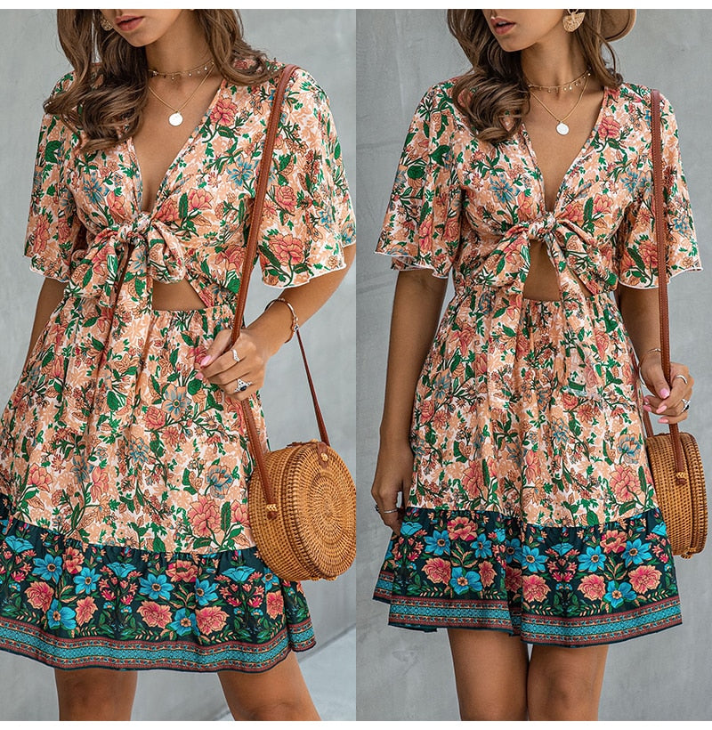 Summer Dress Pink Women Casual Flower Print A-line Mini Sundresses Ladies Fitted Bow-Knot Floral Beach Wear  Womens Clothing - SunLify