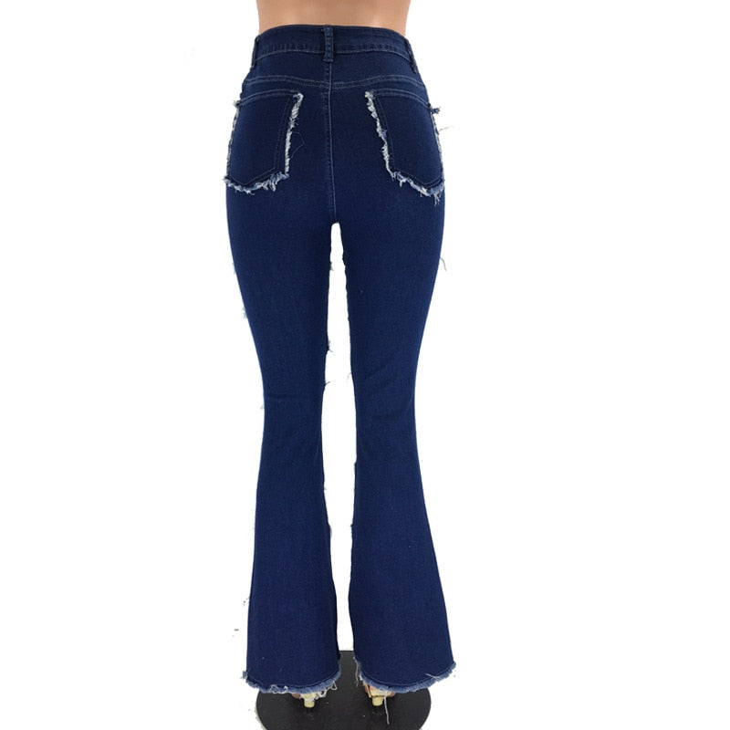 Buy Cheap Winter High Waist Flare Jeans Women Slim Vintage Spliced Denim Trousers Casual Fringed Pants Gradient Color Wide Leg Jeans Online - SunLify