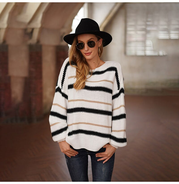 Buy Cheap Woman Sweaters Autumn Winter Long Sleeve Tops Clothes Casual Loose White Striped Stitching Knitted Pullover Sweater Fall Online - SunLify