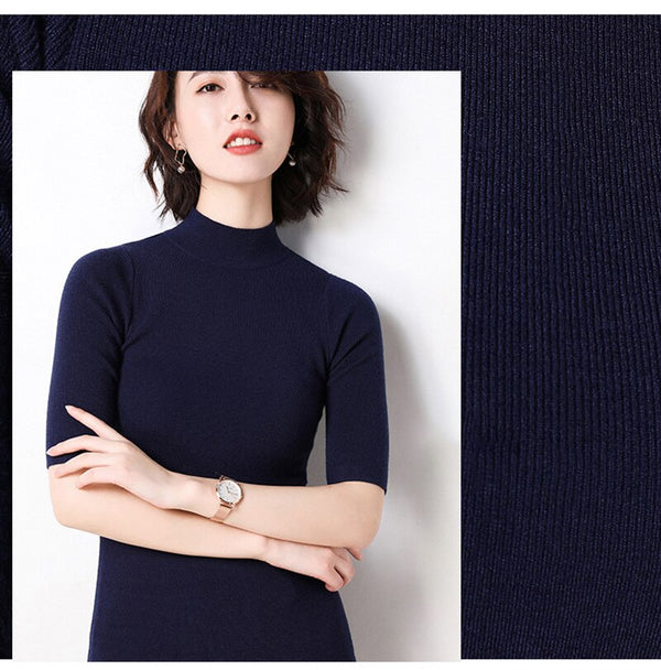 Lossky Knitted Sweater Tops Women Black Korean Fashion Half-high Collar Clothes Dames Summer Autumn Thin Jumpers Knitwear - SunLify