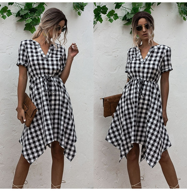Summer Dress Women Asymmetrical Plaid Sundresses Casual Black Fitted Clothing Knees Leisure  Red Clothes For Women Everyday - SunLify