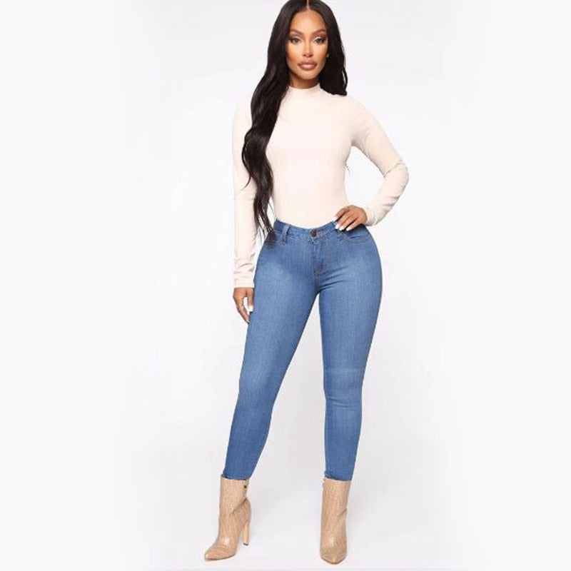 Summer Women casual Thin Denim jeans High Waist Jeans ladies push up Stretch Jeans plus size washed denim skinny pencil pants - SunLify