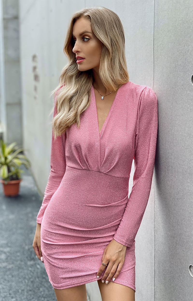 Buy Cheap Women Dress Autumn Sexy Elegant Ladies Red Long Sleeve Ruched Slim Fitted Party Dresses For Women  Fall Fashion Clothes Online - SunLify