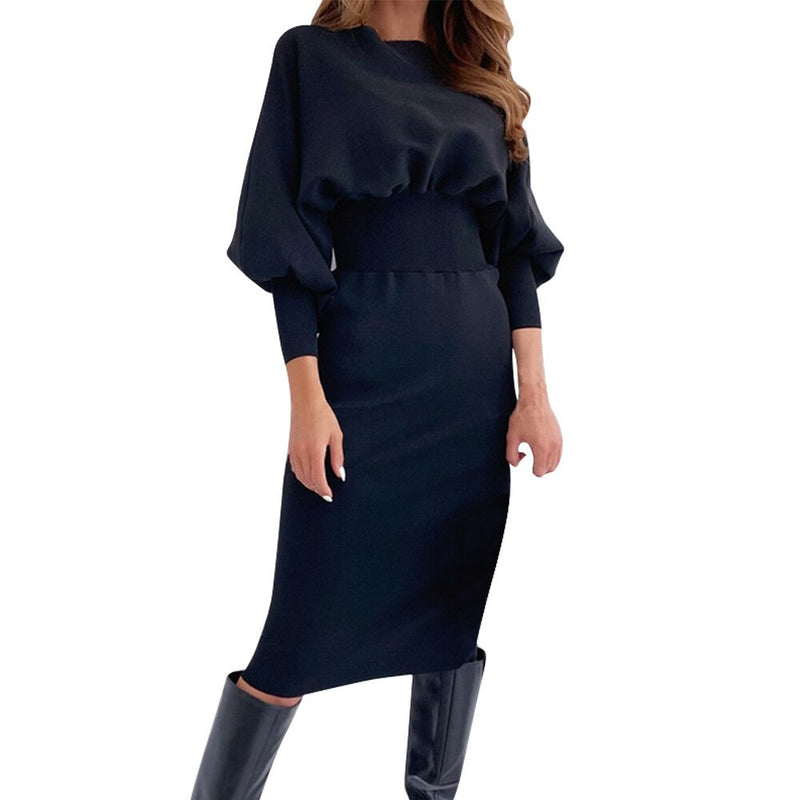 Long Dress Autumn Winter Fashion Elegant Office Ladies Solid Black Long Sleeve Dresses For Women Clothes New Arrival  Fall - SunLify