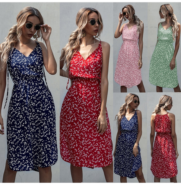 Dress Women Summer Leopard Floral Slip Sundresses Casual Fitted Slit Clothing Pink  Red Spaghetti Strap Dresses For Women - SunLify