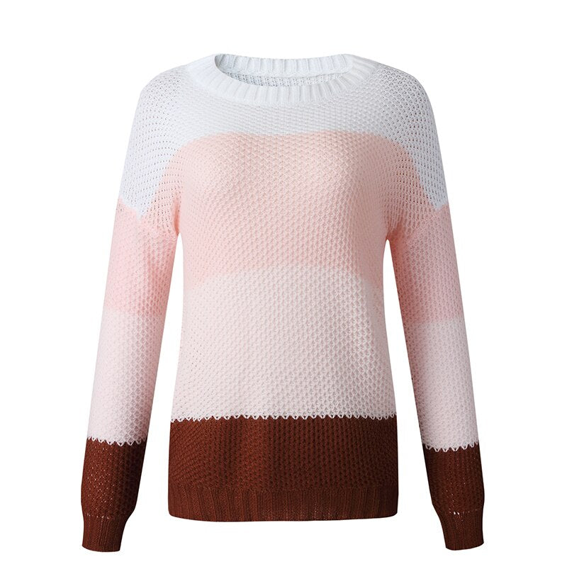 Woman Knit Sweaters Fashion Autumn Spring Long Sleeve Tops Pink Stitching Color Pullover Sweater Knitwear  Womens Clothing - SunLify