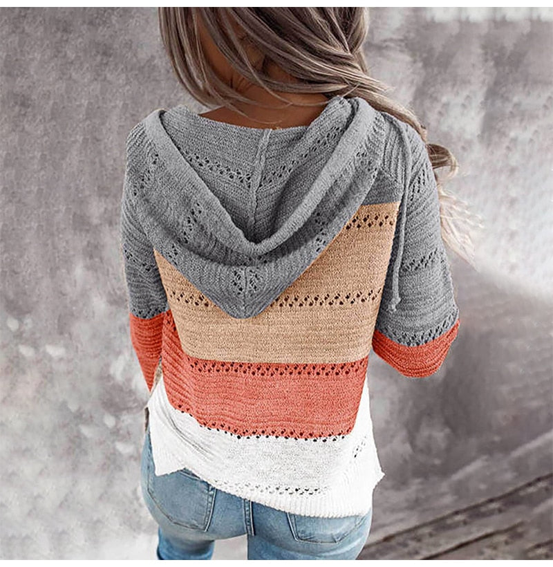Knit Cardigan Sweater Women Autumn Winter Casual Striped Patchwork Long Sleeve Tops Zip Up Hooded Cardigans Womens Clothes - SunLify