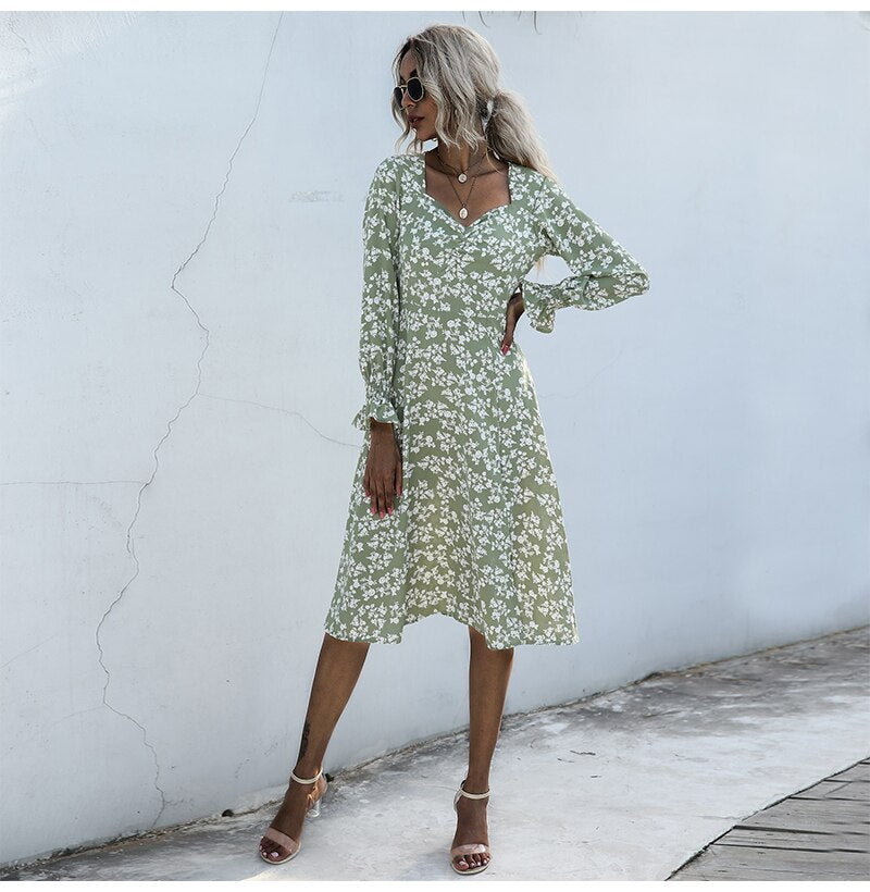 Long Dress Autumn Winter Elegant Ladies Floral Flower Print Long Sleeve Green Slim Fitted Clothes  Trendy Dresses For Women - SunLify