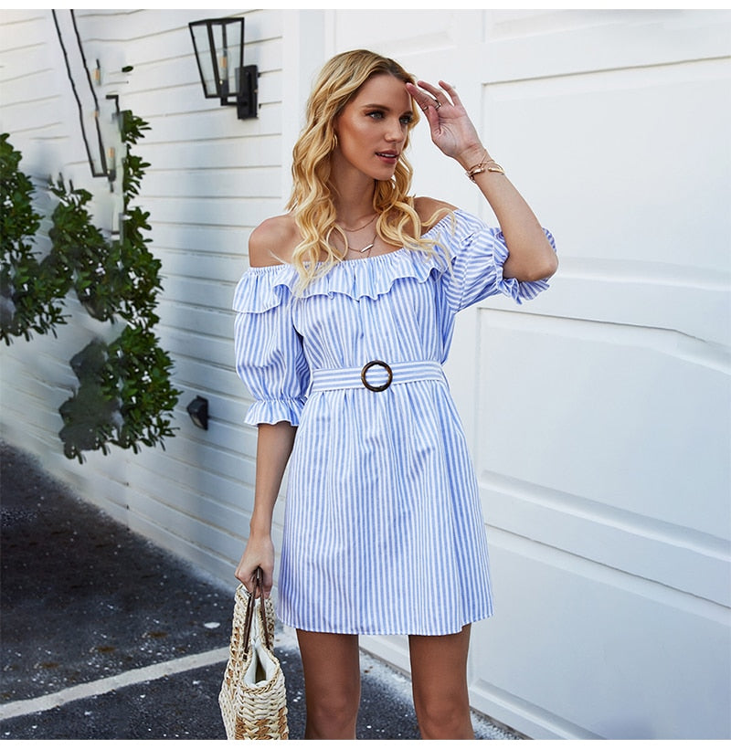 Dress Women Summer Off Shoulder Ruffle Backless Mini Short Sundress Elegant Casual Blue Striped Fitted Clothes Dresses Belt - SunLify