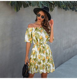 Off Shoulder Dress Sexy Women Strapless Backless Summer Casual Print Mini Short Sundresses Green Fitted Clothing Holiday - SunLify