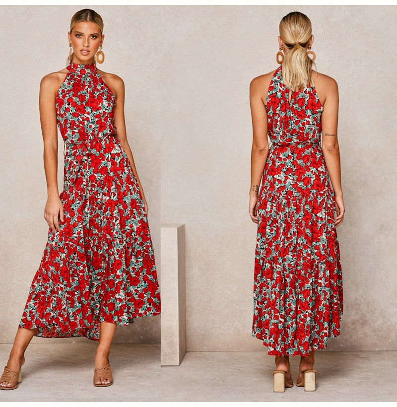 Buy Cheap Lossky Summer Long Dress Floral Casual Beach Dresses Halter Strapless Sundress  Ladies Vintage Clothes For Women Yellow Online - SunLify