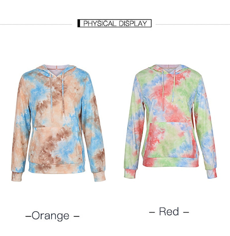 Tie Dye Print Hoodie Sweatshirt Long Sleeve Pocket Pullover Pastel Aesthetic Womens Hoodies Tops Fall  Fashion Clothes Women - SunLify