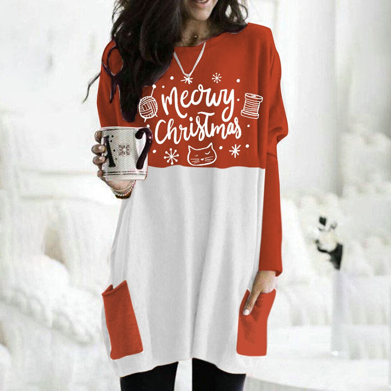 Buy Cheap Christmas Tree Dress Autumn Winter Loose Casual Deer Printed Pocket Patchwork White Dresses Fall Clothes For Women  Fashion Online - SunLify